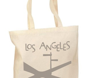The Los Angeles Crossroads Tote, Hand printed, Grocery Bag, Reusable Bag, Hollywood, LA,  Cotton Tote, Canvas Tote, Shopping Bag, Gift