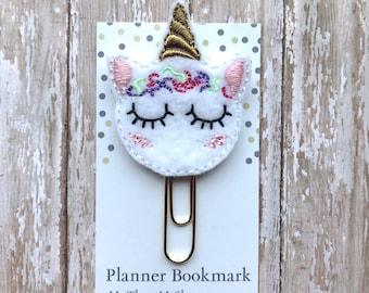 Sleepy Unicorn Feltie Planner Clip, Unicorn Planner Paperclip Bookmark, Unicorn Lover Birthday Gift, Planner Accessories Journaling Supplies