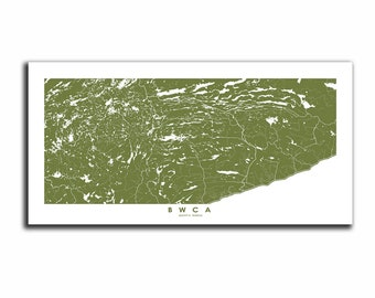"BWCA Boundary Waters Expanded map 40"", BWCA Boundary Waters horizontal art map, BWCA Boundary Waters wall art poster,"