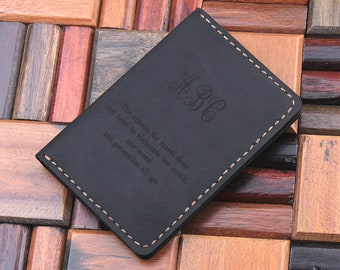 Leather Passport Cover, Leather Travel Wallet, Personalized Monogram Name Passport Holder, Custom Text Passport Case, Husband Wife gift