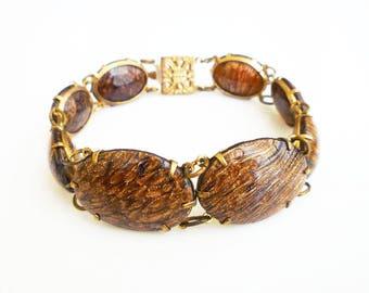 Vintage Art Glass Faux Tigers Eye Bracelet - Sunstone Glass, Aventurine Glass, Gold Tone, Vintage Bracelet, Vintage Jewelry