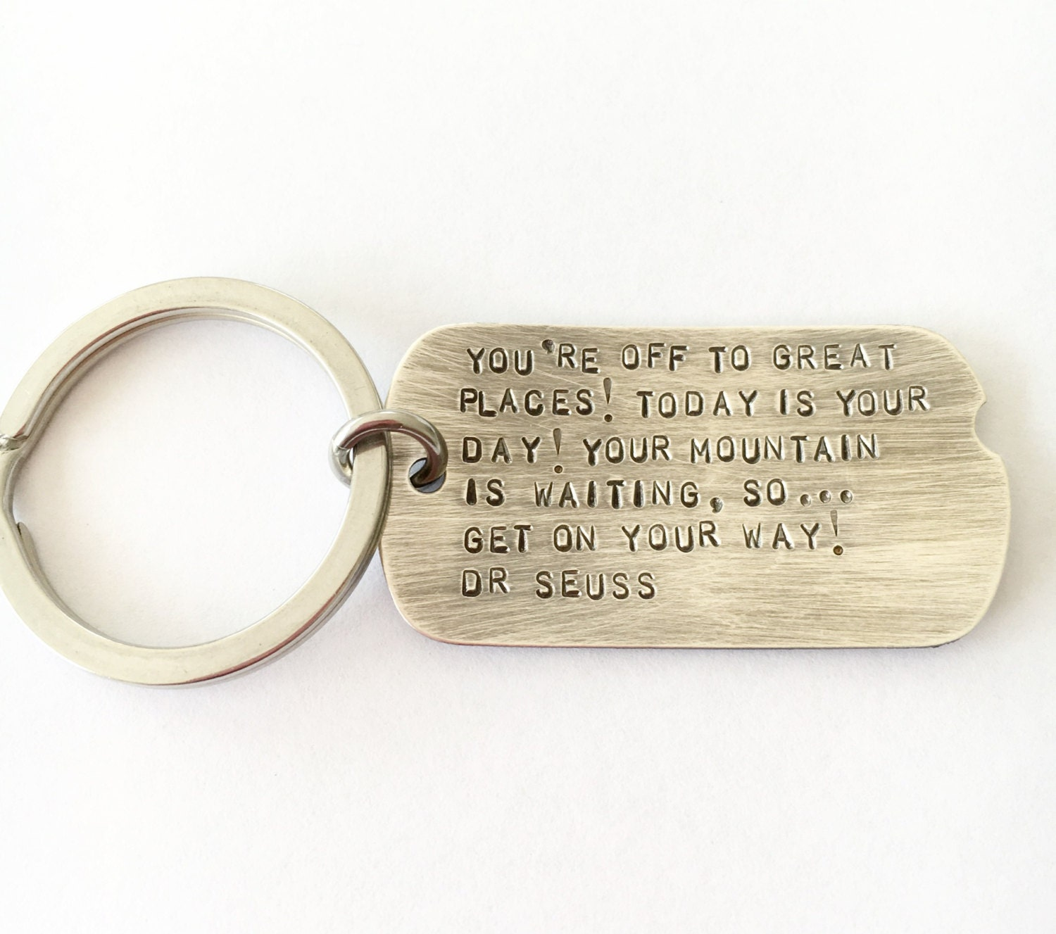 Inspiration Keyring Graduation Gift Dog Tag Key Rings Hand