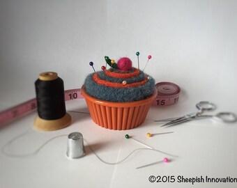 Felt Pincushion, Cupcake Pincushion, Orange & Blue Pincushion, Christmas gifts under 15 dollars