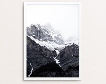 Mountain print, black and white landscape, mountains photography, mountain printable, minimalist print, nature printable, nature wall art