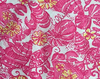 "hotty pink chum bucket sateen poplin cotton fabric square 18""x18"" ~ lilly spring 2012 ~ lilly pulitzer"