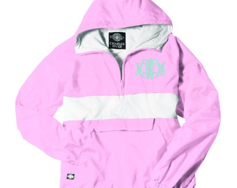 Monogrammed Striped Personalized Half Zip Rain Jacket Pullover by Charles River Apparel
