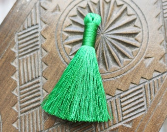 Bright Green Tassel, Set of 2, 2 inch Tassel, Short Tassels, B32