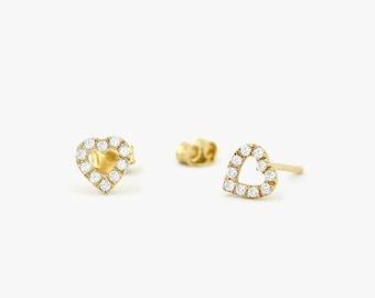 14K Gold Mini Heart Earrings with Round Cut Diamonds/ Micro Pave Earrings / Heart Shape Diamond Studs/ Minimalist Earrings