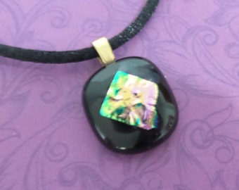Tiny Black Pendant with Pink and Green Dichroic Accent, Fused Glass Jewelry, Ready to Ship - Rebecca - 2472-5
