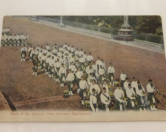 Vintage Postcard of Band of the Queen's Own Cameron Highlanders
