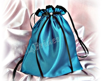 Teal and black wedding dance bag, bridal drawstring bag - wedding bridal accessories
