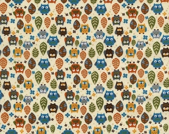 40% OFF SALE - Mini Owls Cream (C1813)  - Timeless Treasures Fabric - By the Yard