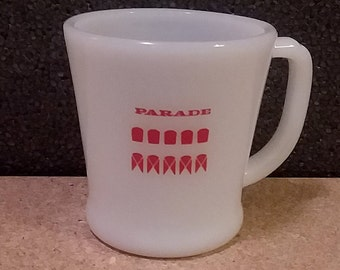 Fire King Milk Glass Coffee Mug with Red Parade Design Vintage Anchor Hocking Collectible Cup