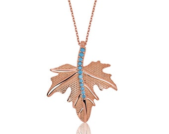 Sycamore Leaf Sterling Silver Turquoise Necklace - IJ1-1624