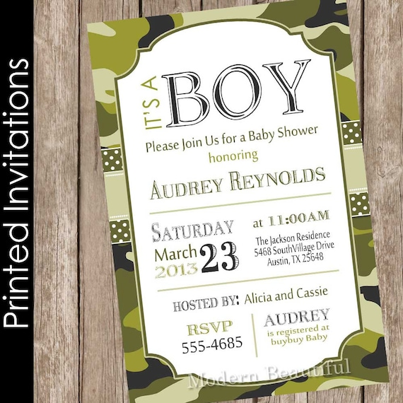 Printed camo baby shower invitation army baby shower like this item filmwisefo