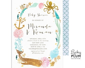 Whale Baby Shower Invitation / Nautical Baby Shower Invitation / Ocean Baby Shower Invitation / Couples Coed / *Digital WH03