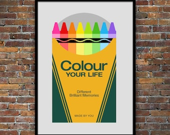 Retro poster, nursery art, color, Mid century Modern, kitchen art, Crayola crayon, office art, typography - Colour Your Life 50 x 70cm