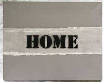 """HOME"" - a Deco modern & original painting canvas"