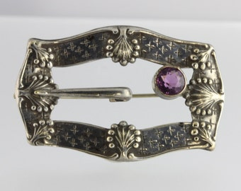 Gorgeous Edwardian Silver Plate and Amethyst Glass Buckle Brooch. Antique.