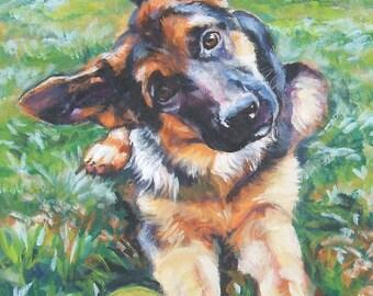 "German Shepherd dog portrait art PRINT of LAShepard painting 12x16"" alsatian GSD"