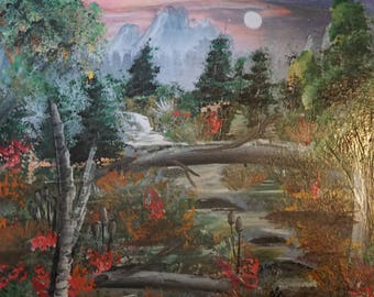 Spray Paint Art Landscape Mountains Forest River Creek Brook Waterfall Pine Trees Flowers