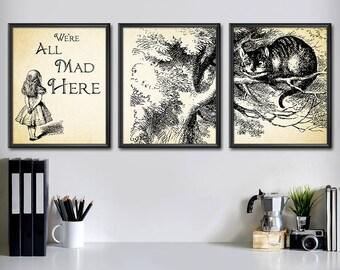 Alice Wall Decor Set - Alice in Wonderland Decorations Set of 3 - Alice in Wonderland Decor Set - Alice in Wonderland Wall Art Set - 2001