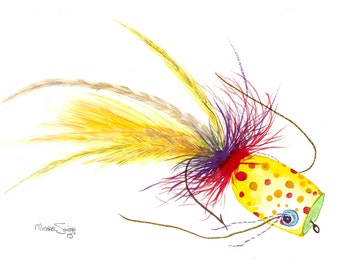 Yellow Fishing Lure Watercolor Print