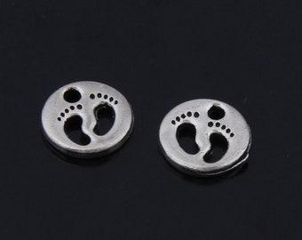 20pcs 11mm Antique Silver Foots Charm Pendants JHA7576