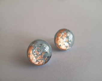 Blue Gray Copper Round Stud Earrings - Hypoallergenic Surgical Steel Post