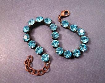 Rhinestone Bracelet, Aqua Blue Glass Rhinestone and Copper Beaded Bracelet, FREE Shipping U.S.