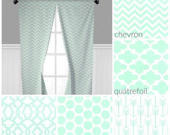 Mint Green Curtain Panels Light Curtains Window Treatments Custom Drapes Polka Dot Quatrefoil Chevron Nursery