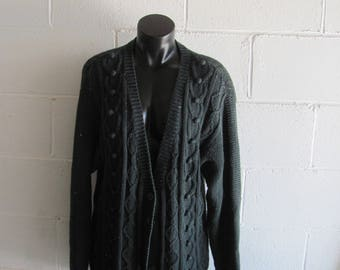 Vintage 80s/90s Green Knit Oversized Cardigan Sweater Cardi Hipster Womens M