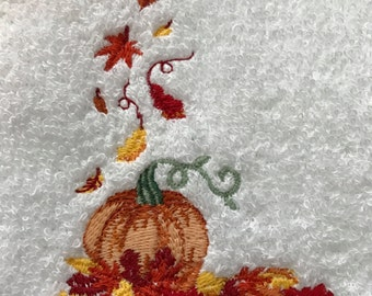 Hand Towel - Embroidered Falling Leaves