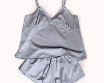 Bonboneva Sleepwear: Grey Satin Sleeping Set French Knickers Shorts and Camisole Sexy Sleepwear in Soft Cotton Satin