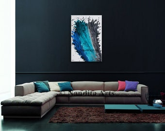Blue and Teal Wave Artwork 36 Inch, Modern Art, Original Abstract Art On Canvas, Handmade Home Decor, Large Wall Art By Nandita