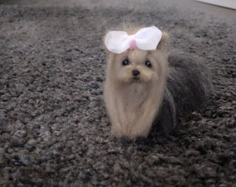 Miniature needle felted Yorkshire terrier puppy/dog