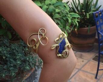 Wire-Wrapped Semi-Precious Stone Arm Bracelet