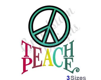 Teach Peace Sign - Machine Embroidery Design