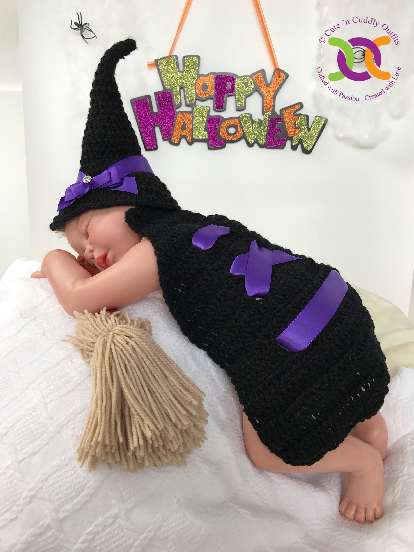 Halloween-Baby-Kostüm Hexe Halloween-Kostüm Hexenhut häkeln
