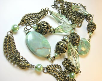 Pure Vintage Decadence Mint Green Jasper Crystal Pearl Long Antique Brass Gold Chain Necklace