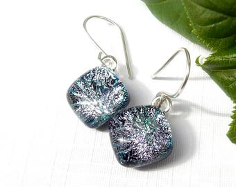 Silver Firework Dichroic Glass Drop Earrings, Small Square Art Glass Dangle Earrings on 925 Sterling Silver Earwires, Fused Glass Jewellery