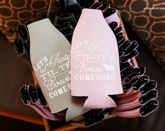 Lets Party Til the Cows Come Home longneck can coolies, zipper bottle sleeves, farm wedding favor, cows come home beer bottle holder- 200 ct