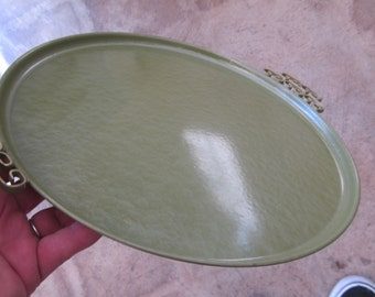 MCM Green Metal Kyes Tray with Brass Handles