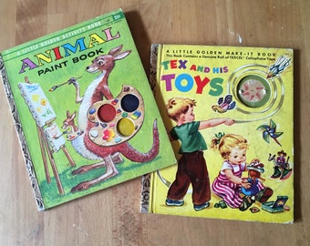 1950's Little Golden Books! Animal Paint Activity and Tex and His Toys Make-it Books - Collector's Dream