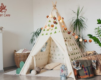 OLIVE triangles Playhouse, Teepee, Tent, Tipi, Play tent, Play house, Wigwam, Vig vam, Tent for kids, Kids Teepee, Kids Tent, Teepee tent