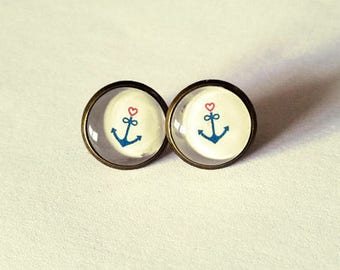 Navy anchor and heart Stud Earrings
