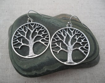 Silver Tree Earrings Tree of Life Simple Everyday Tree Jewelry Fall Autumn Jewelry