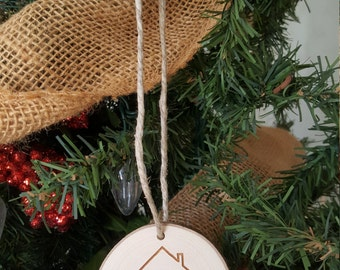 Our New Home Christmas Ornament - Engraved Wood Slice Ornament - Housewarming Gift