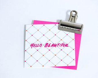 Hello Beautiful - Greetings Card - Pearl of a Girl Designs
