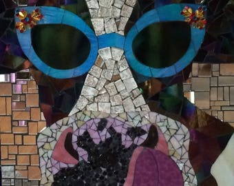 "Stained Glass Mixed Media Mosaic Cow ""Selfie"""